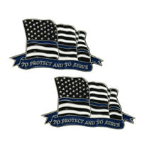 Thin Blue Line American Flag To Protect And To Serve Police Sheriff Lapel Pin