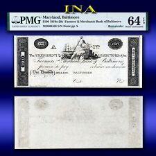 Maryland Farmers & Merchants Bank of Baltimore $100 Choice Unc PMG 64 EPQ