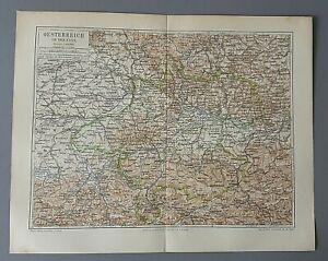 """schöne alte Chromolithographie """"Österreich"""" - Meyer´s Landkarte um 1895"""