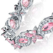 Sterling Silver Cubic Zirconia Pink Marquise Tennis Bracelet set with CZ's