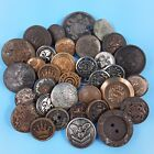 Lot Of Antique & Vintage Military, Coat-Of-Arms & Geometric Brass Metal Buttons