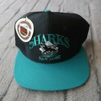 Vintage New 90s San Jose Sharks Logo Snapback Hat Dad Cap Teal