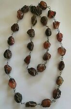 agate stone necklace Vintage long length