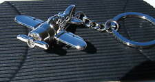 Chrome Metal Airplane Keyring Single Propeller Airplane Keychain Gift Boxed