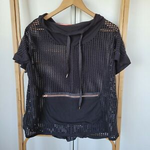 Taking Shape Size S Small Black Active Wear Mesh Top With Hood