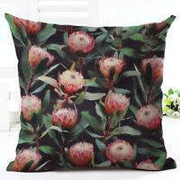 Tropical Plant Floral leaves Pillow Case Cotton Linen Cushion Cover Home Decor