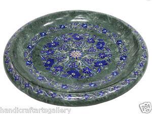 "16"" Marble Fruit Bowl Collectible Lapis Inlaid Mosaic Floral Handmade Décor H538"