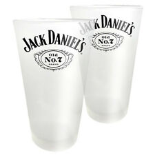 Jack Daniels Drinking Glasses Old No.7 Cartouche 425ml Frosted Man Cave Bar Gift