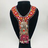 Vintage Turkmen Choker Necklace Pendant on Hand Sawn Soft Fabric Handmade,TN202