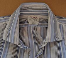 TM Lewin blue & grey striped cotton shirt size 17 double cuff Jermyn Street