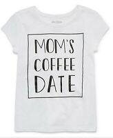 NWT Toddler Girls Okie Dokie White Mom's Coffee Date Shirt 4T 5T