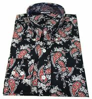 Relco Navy/Red/White Paisley Cotton Long Sleeved Retro Mod Button Down Shirts