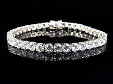 White Gold Finish Sterling Silver Simulated Diamond Large 1 Row Bracelet 4.8MM