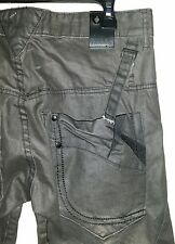 FUSAI Grey Distressed Wrinkled Embroidered Pocket Jeans Men's 34 x 29 Seams EUC