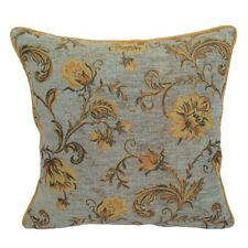 Chenille Blue - Yellow/Orange Flowers Throw Pillow Case/Cushion Cover-Satin back