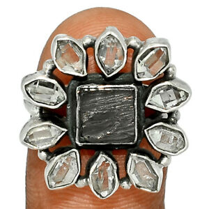 Russian Shungite & Herkimer Diamond 925 Sterling Silver Ring Jewelry s.8 BR74510