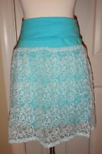 NEW Simply Noelle L XL 12 14 Turquoise Fold-Over Waist Lace Overlay Skirt NWT