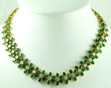 FASHION JEWELRY GEM 14K YELLOW GOLD RED GREEN EMERALD SAPPHIRE Beauty NECKLACE 7
