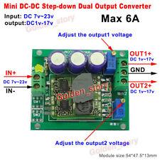 6A mini Dual Output DC-DC Buck Step-down Volt Converter Regulator 3.3V 5V 9V 12V