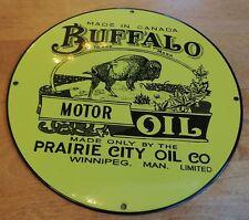 Emailschild Buffalo Motor Oil Prairie City Oil Co. Oldtimer Öldose Sammler toll