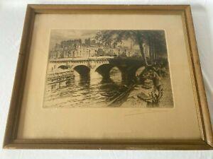 Vintage Paris Le Pont Neuf Framed Etching Print Paris Bridge
