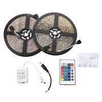 2x5M 10M 5050 SMD 300 RGB LED Lampara de la tira flexible Impermeable + 24 I5E4