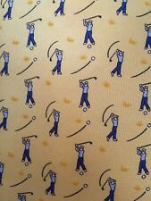 Hermes tie in mint condition. Golfers on yellow background.