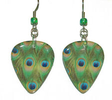 PEACOCK FEATHERS GUITAR PICK DANGLE EARRINGS (GP029)