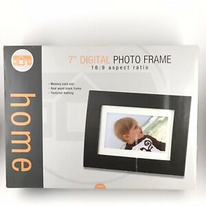 "7"" Digital Photo Frame By Home 16:9 Ratio Memory Card Real Wood Black"