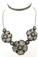MIGUEL ASES  BRAND NEW BLACK JET & SILVER MYUKI BEADED ADJ FLOWER NECKLACE NWT