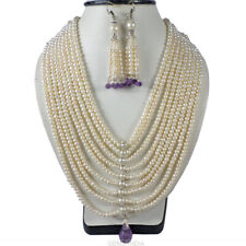 1000 Ct Finest Vintage Pearl Amethyst Queen Necklace Earrings Bridal Jewelry Set