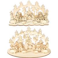 Wooden Christmas Sleigh Santa Claus Snowman Stag Home Xmas Ornaments DIY Decor