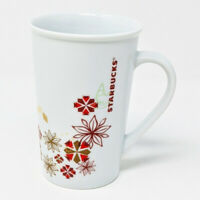 Starbucks Holiday Coffee Mug 12 oz. Snowflakes Poinsettias Red Gold 2013