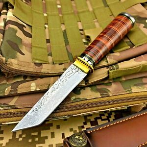Tanto Knife Fixed Blade Hunting Survival Tactical Forged Damascus Steel Handmade