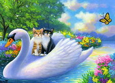 Swan bird kittens cat spring flowers lake fantasy OE aceo print of painting art