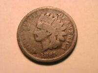 1865 Plain 5 Indian Head Cent about Good (G) Original Brown US Small Penny Coin