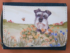 SCHNAUZER MINIATURE DOG DENIM BLUE FABRIC PURSE WALLET SANDRA COEN ARTIST PRINT