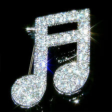 MUSIC NOTE made with Swarovski Crystal Musical Semiquaver Pin Brooch Jewelry NEW