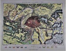 OLD ANTIQUE MAP PARIS FRANCE GEOLOGICAL  c1880's by VUILLEMIN PRINTED COLOUR