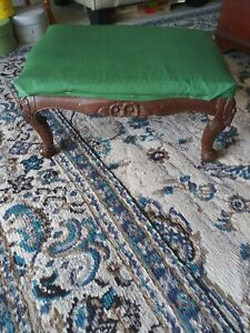 """""""Antique French Provincial Ottoman With Green Fabric"""""""