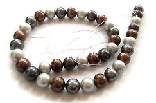 12mm gray coffee black genuine cultured freshwater pearl loose beads USA BY EUB