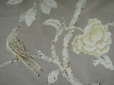 "ZOFFANY CURTAIN FABRIC DESIGN ""Woodville Silk "" 3.65 METRES SILVER 100% SILK"