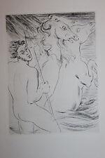 Estampe originale Pointe sèche de André Michel 1945 nu masculin 33 x 24,5 cm
