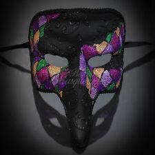 Men's Medieval Plague Doctor Mardi Gras Venetian Masquerade Mask Black (M1032B)