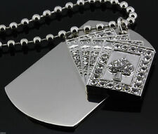 """Dog Tag Necklace 30"""" Ball Chain White Gold Silver Clear Cz Poker Card"""