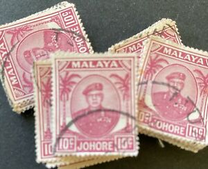 Wholesale LOT- Malaya Johore 1949 10¢ Sultan x 100 stamps Fine used