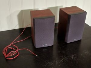 Red Wooden Sony SS-CNEZ30 Bookshelf Speakers Excellent for CMT-NEZ30 Hi-Fi