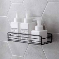 Wall Mounted Kitchen Bathroom Iron Shelf Caddies Storage Rack Organizer Adhesive