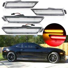 Clear Lens Front+Rear Fender Side Marker Light For 2010-2015 Chevrolet Camaro