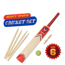 MIGHTY SPORTS FUN Wooden CRICKET SET IN NYLON BAG SIZE 6 Kids Ball/Bat/Stumps